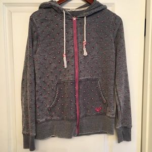 Roxy gray jacket with pink hearts